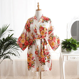 White Floral Bridal Party Satin Robe Perfect for bride