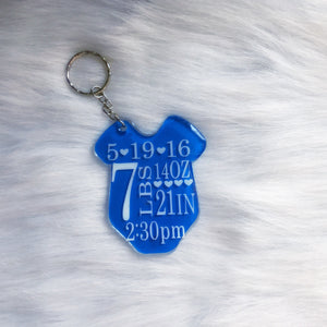 Personalized Baby Announcement Keychain