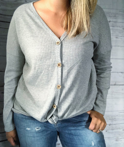 Whitney Waffle Knot Top - Sweet Southern Sparkle