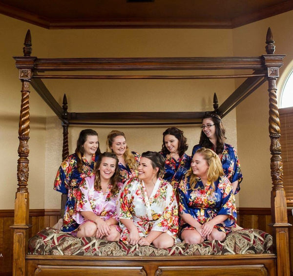 Bridal Party Modeling Satin Floral Robes