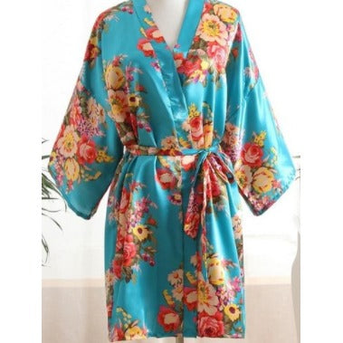 Blue Floral Bridal Party Satin Robe