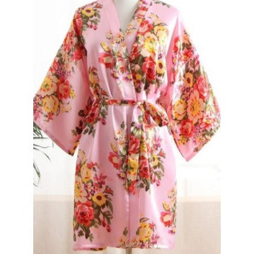 Light Pink Floral Bridal Party Satin Robe