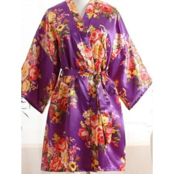 Purple Floral Bridal Party Satin Robe