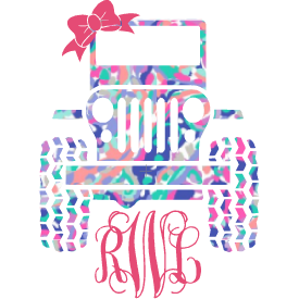 Lilly Jeep Monogram Decal - Sweet Southern Sparkle