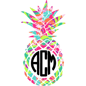 Lilly Monogram Pineapple Decal - Sweet Southern Sparkle