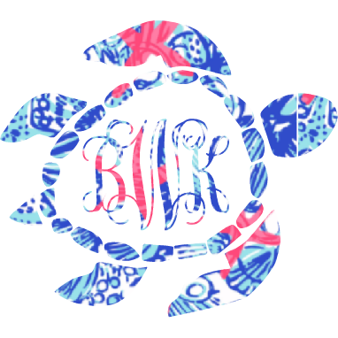 Lilly Monogram Turtle Decal - Sweet Southern Sparkle