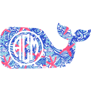 Lilly Monogram Whale Decal - Sweet Southern Sparkle