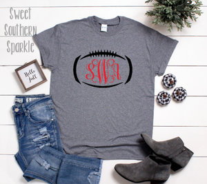 Monogram Football Tee - Sweet Southern Sparkle