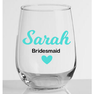 Stemless Wine Glass Bridal Party Name - Sweet Southern Sparkle