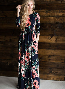 Navy Floral Long Sleeve Maxi Dress - Sweet Southern Sparkle