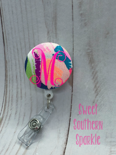 Lilly Pulitzer Inspired Monogram Badge Reel - Sweet Southern Sparkle
