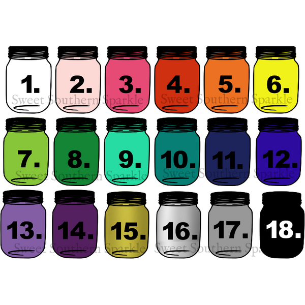 Sweet Southern Sparkle Vinyl Decal Color Chart
