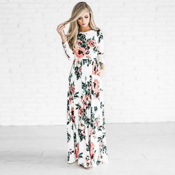 White Floral Long Sleeve Maxi Dress - Sweet Southern Sparkle
