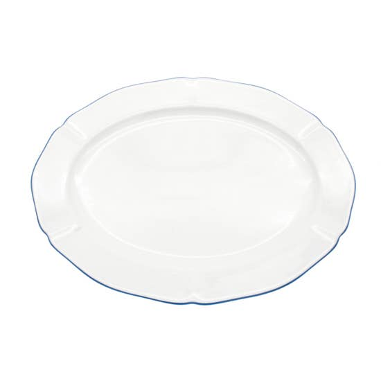 "Amelie - Royal Blue Rim - 14"" Oval Platter"