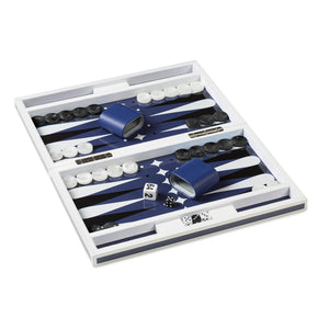 Lacquer Luxury Backgammon Set In Blue and White