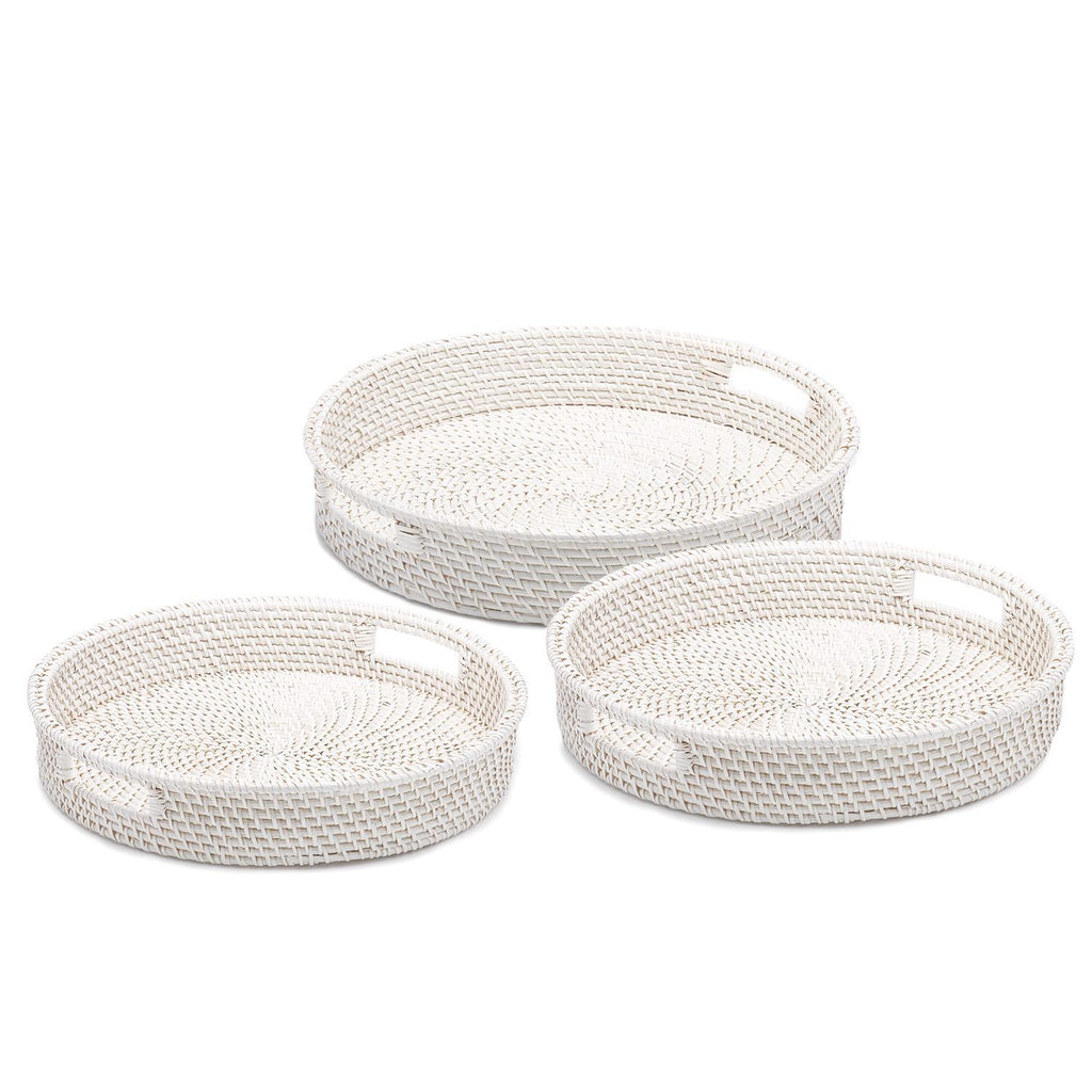 White Rattan Serving Trays Set