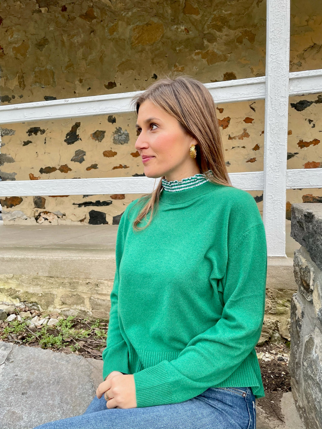 Green Collared Cashmere Sweater