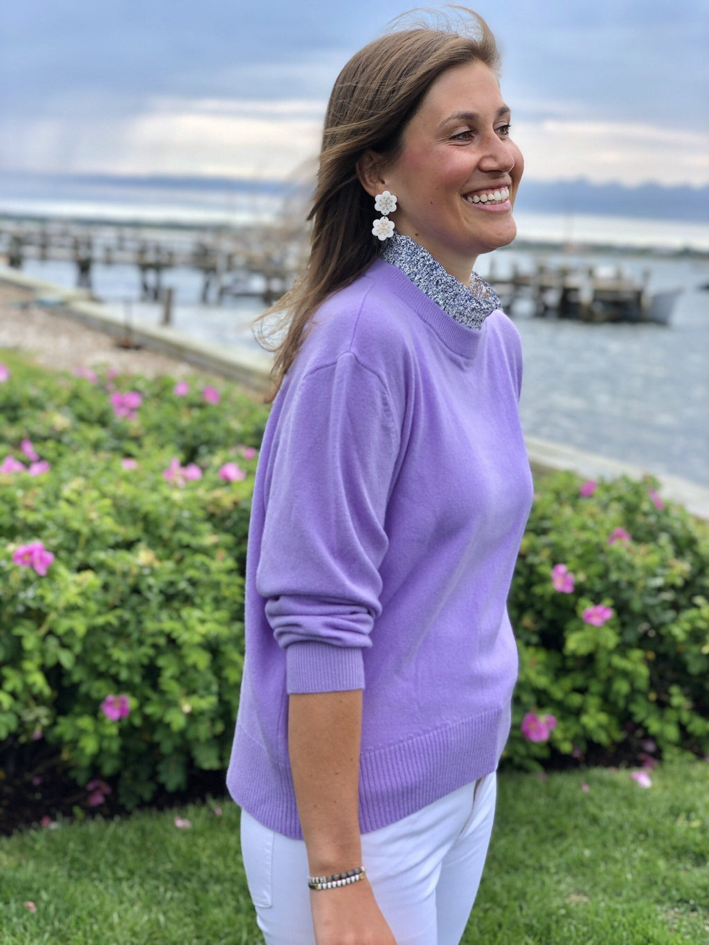 Lavender Collared Cashmere Sweater