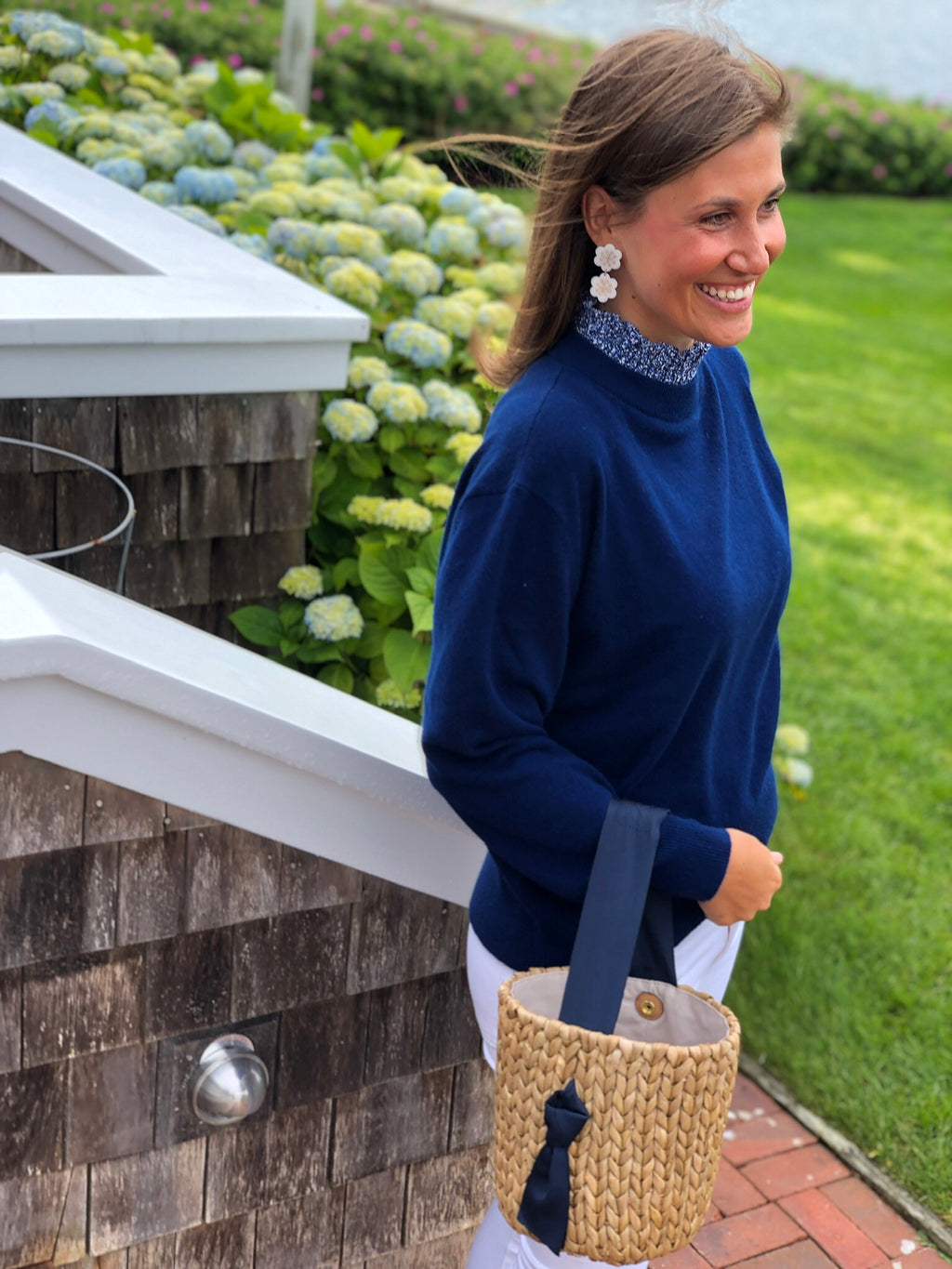 Navy Collared Cashmere Sweater