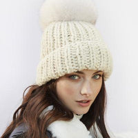 Chunky Knit Faux Fur Hat