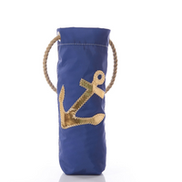 Gold-on-Navy Anchor Wine Bag