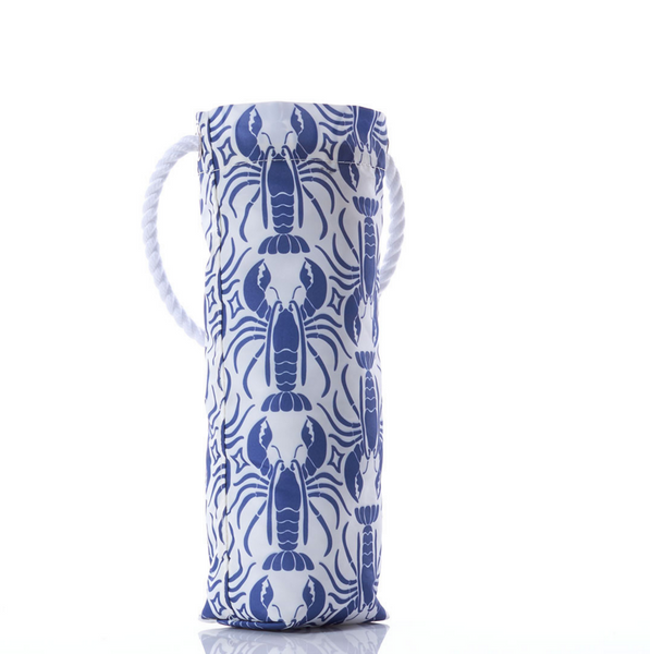 Blue Lobster Print Wine Bag