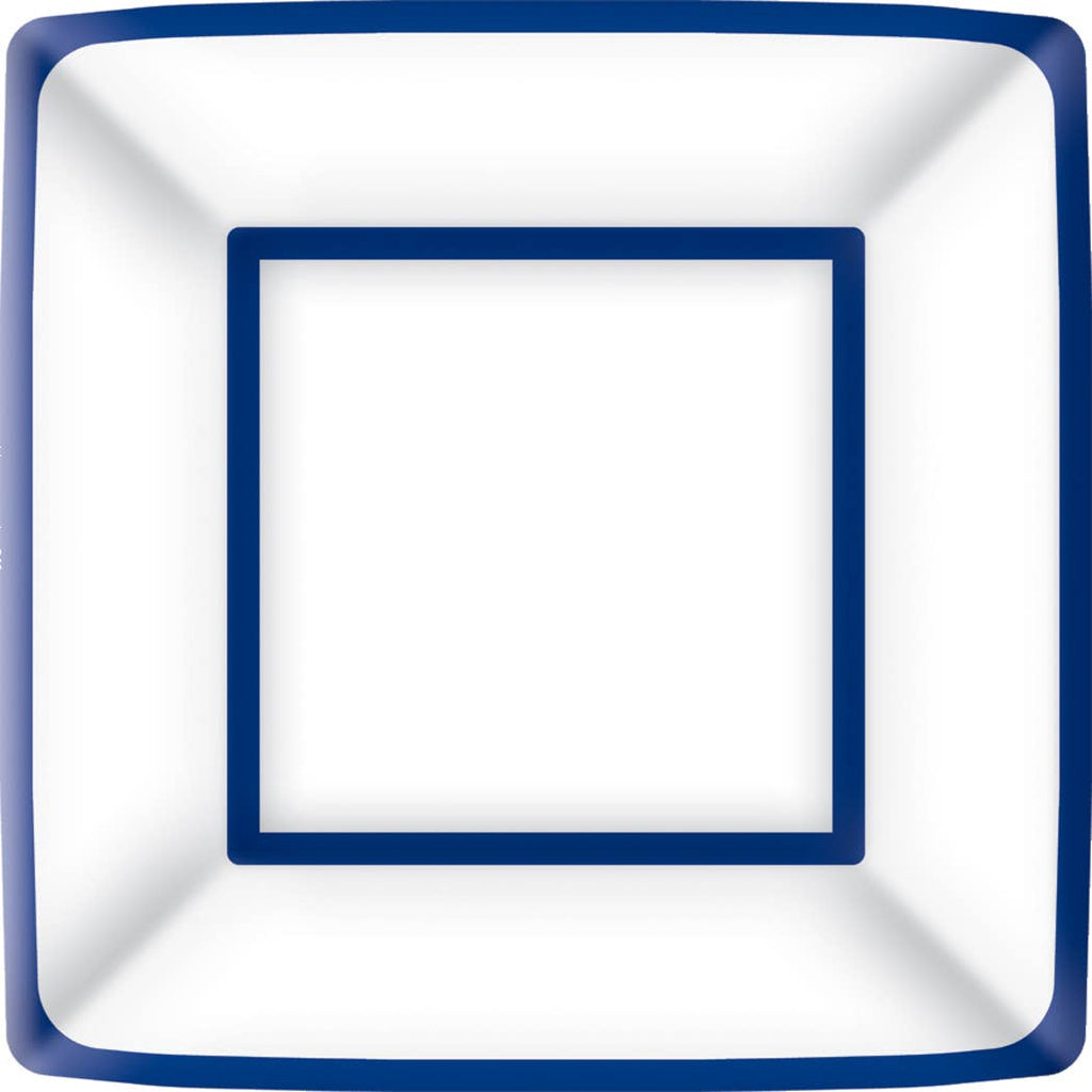 Classic Square Blue/White Paper Dinner Plate