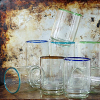 Large Colored Rim Stacking Glass