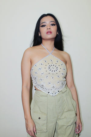 RWRK Bandana Halter Top - Beige and Light Gray