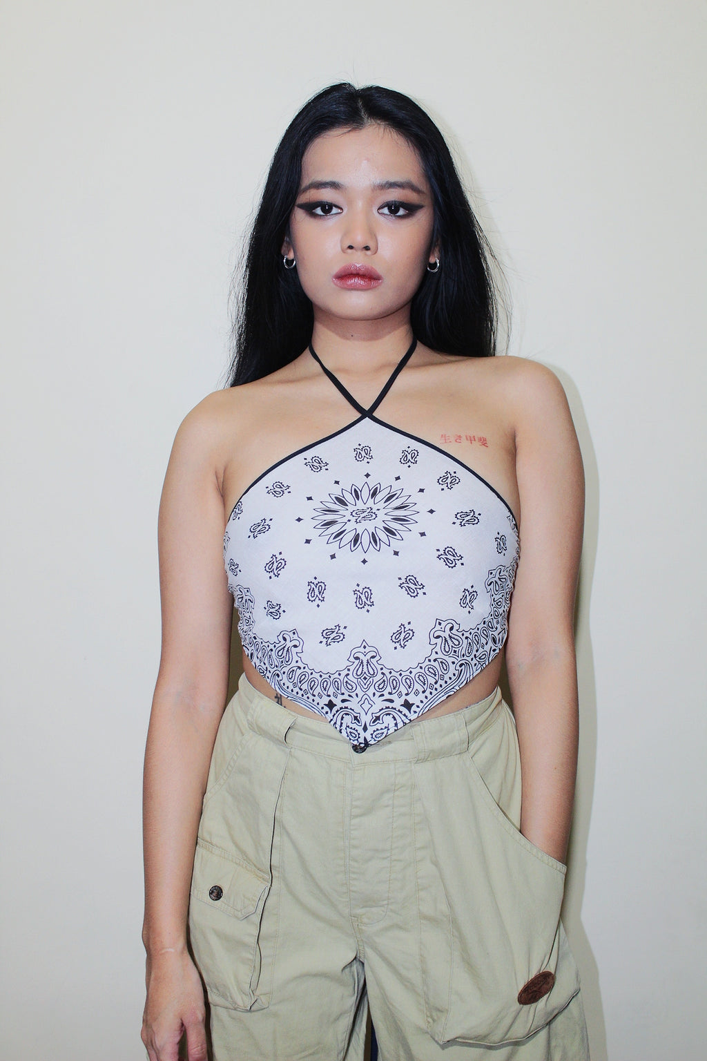 RWRK Bandana Halter Top - White and Black