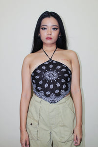 RWRK Bandana Halter Top - Black and White