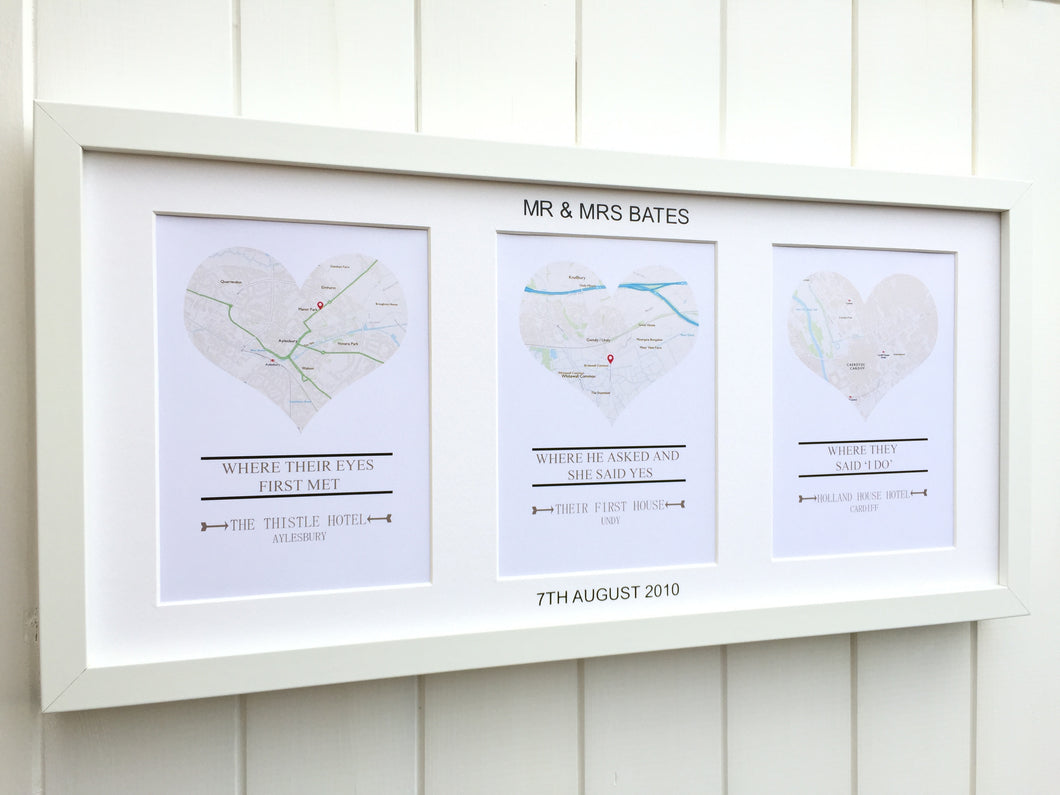 anniversary wedding engagement heart map frame - Engagement Picture Frame