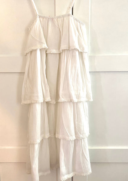 Mimi White Frill Dress