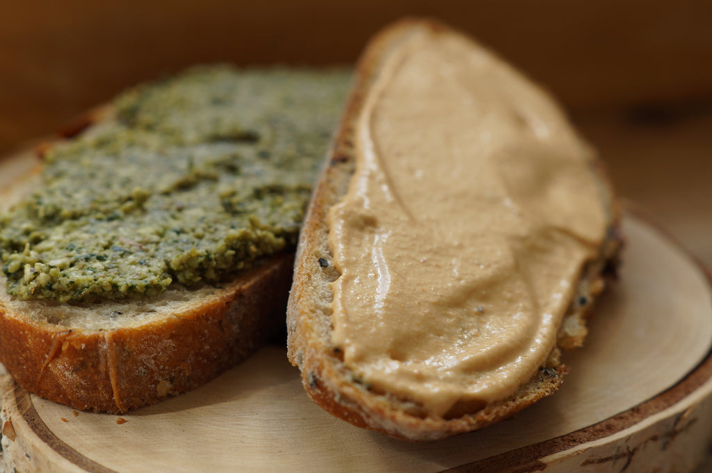 sourdough bread with raw vegan cheese spread
