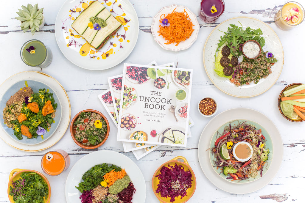 The Uncook Book by Tanya Maher and Deliveroo raw food menu
