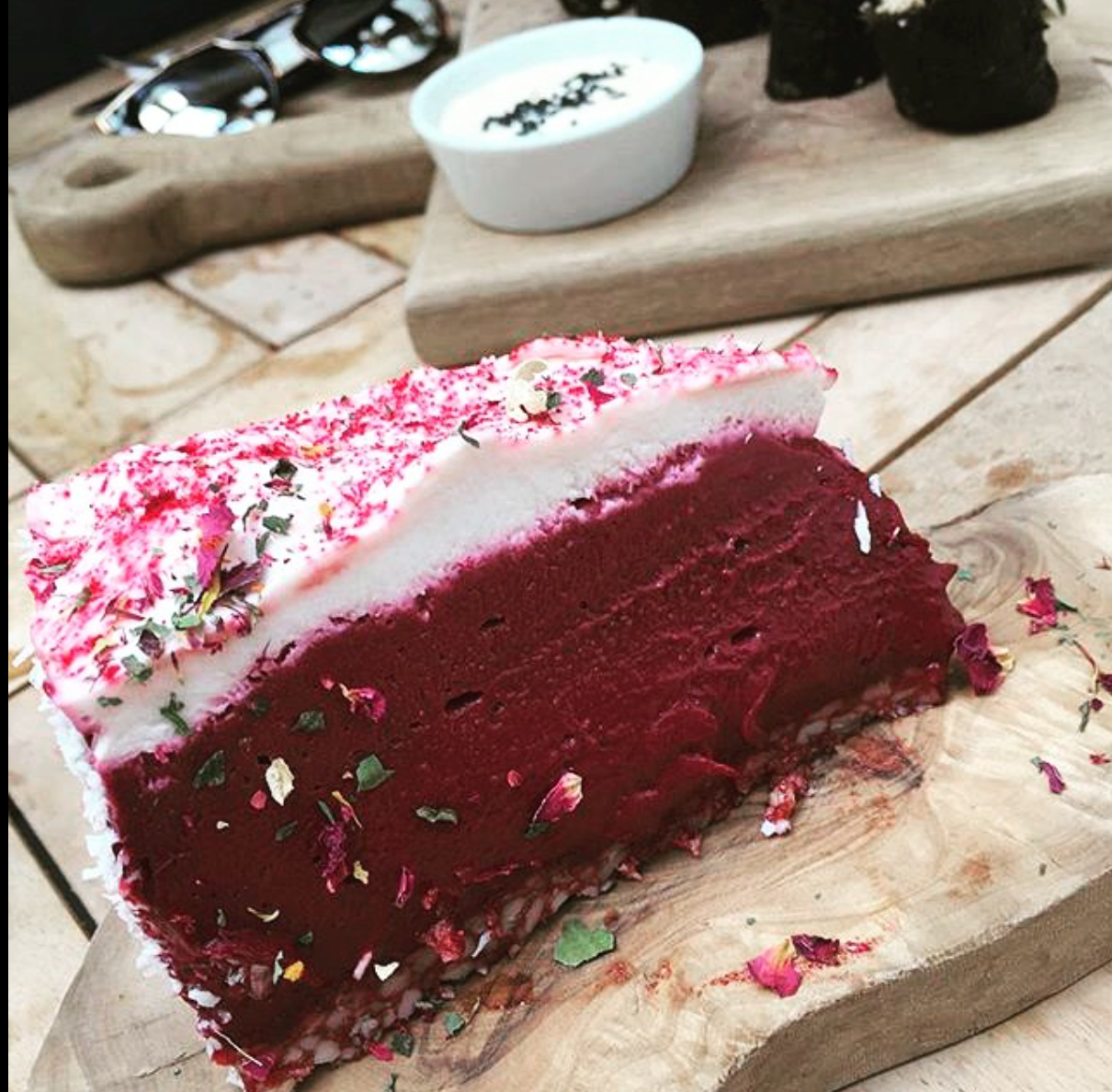raw vegan red velvet cheesecake at Tanya's Cafe