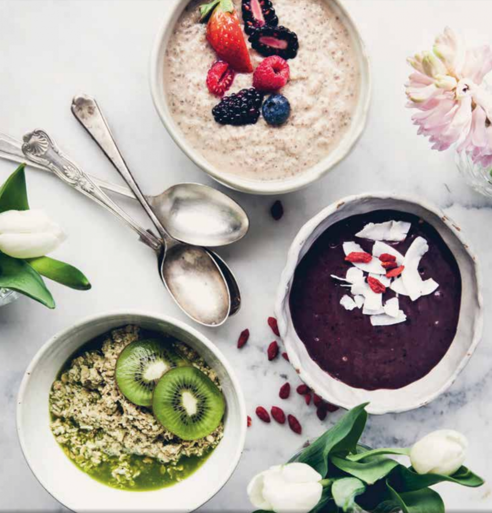 Just 3 of my favourite breakfasts in The Uncook Book- Apple and Cinnamon Chia Porridge, Acai Bowl and Green Alkaline Oats