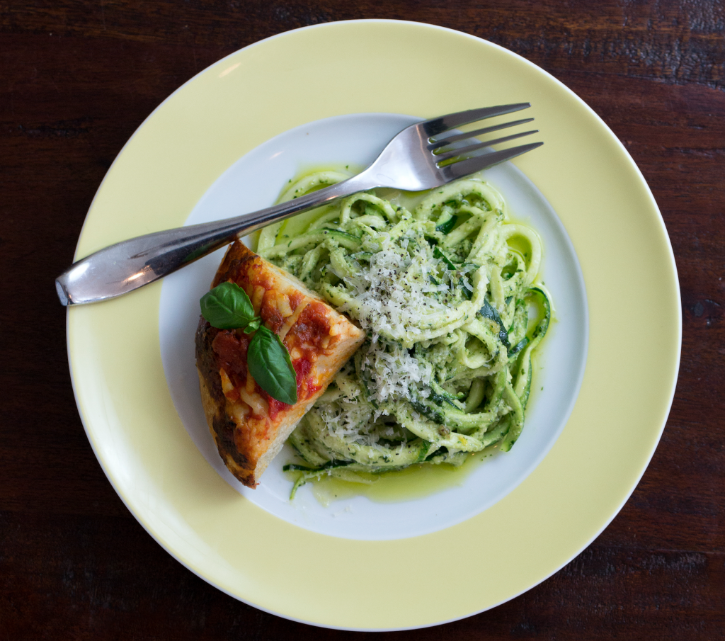 zucchini pasta with pesto by Joshua Rosenthal