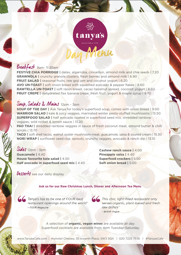 tanyas day menu front