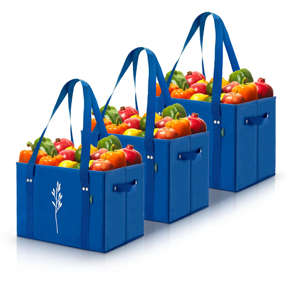Blue Reusable Grocery Box Bags (Set of 3)