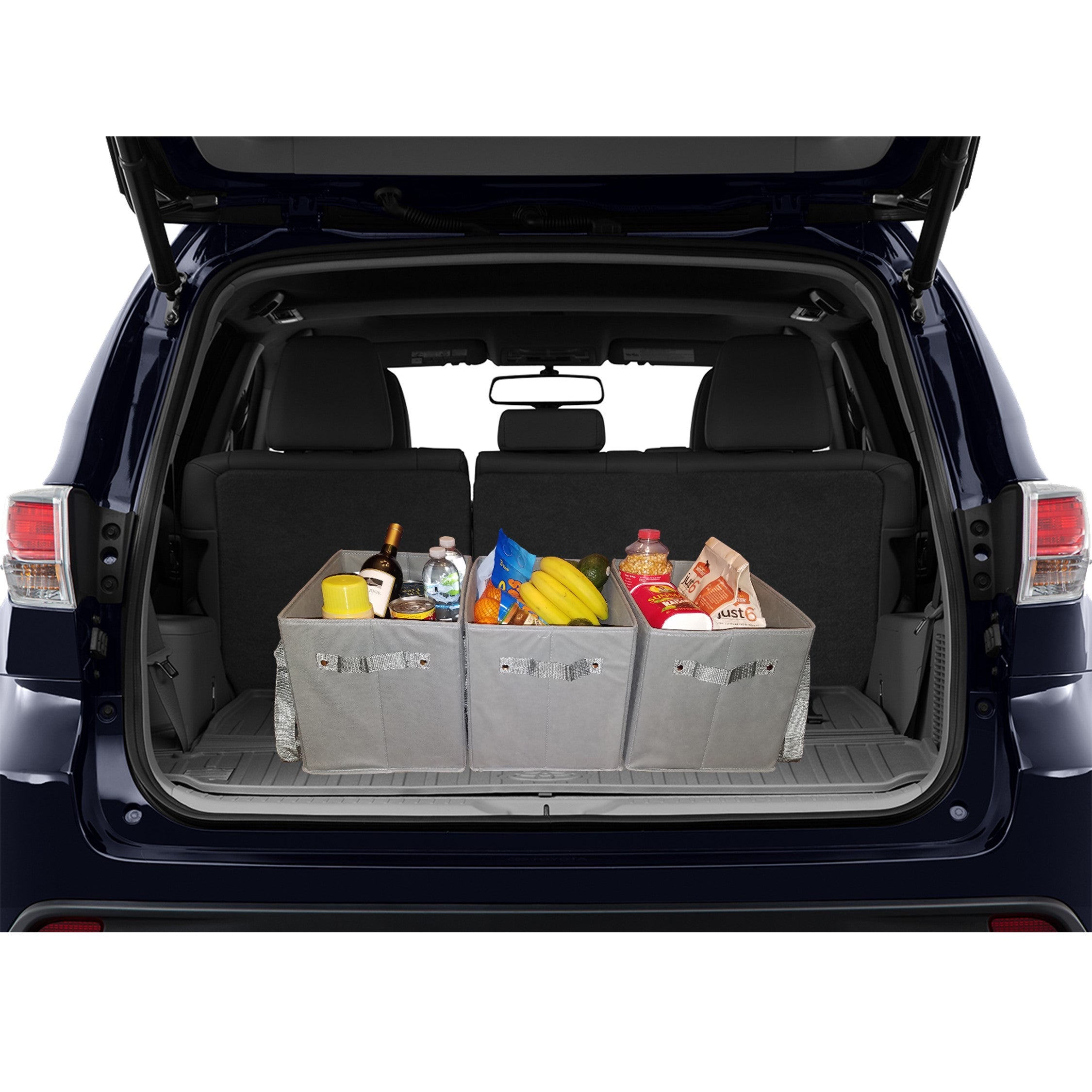 Set of 3 Reusable Grocery Bags Stay Upright and Fit in the Trunk of Your Car