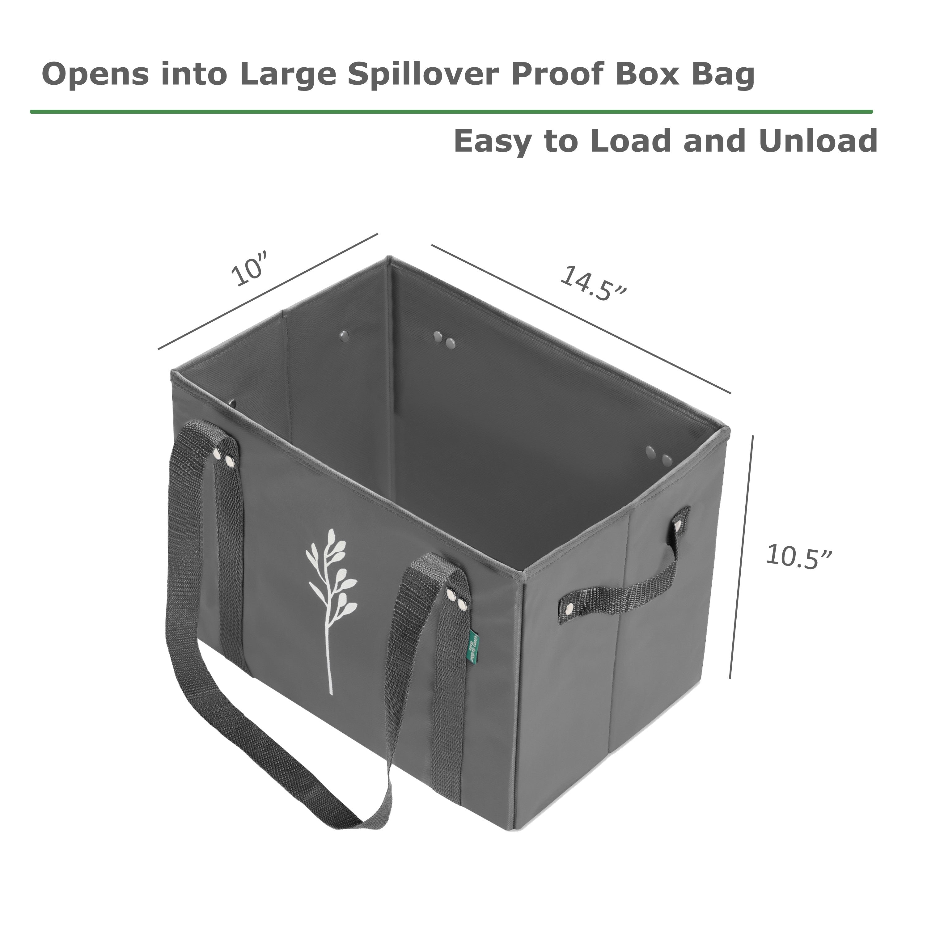 Reusable Grocery Bags Open into Spillover Proof Box Bag for Easy Loading and Unloading