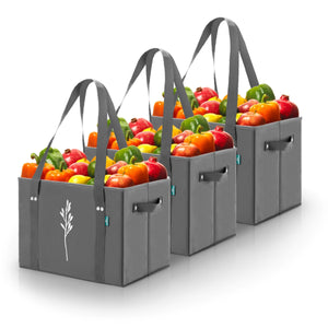 Gray Reusable Grocery Box Bags (Set of 3)
