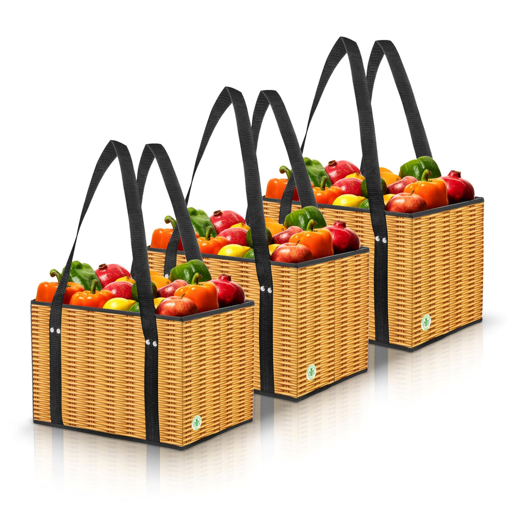 Stain Resistant Reusable Grocery Box Bags in Wicker Print. (Set of 3)