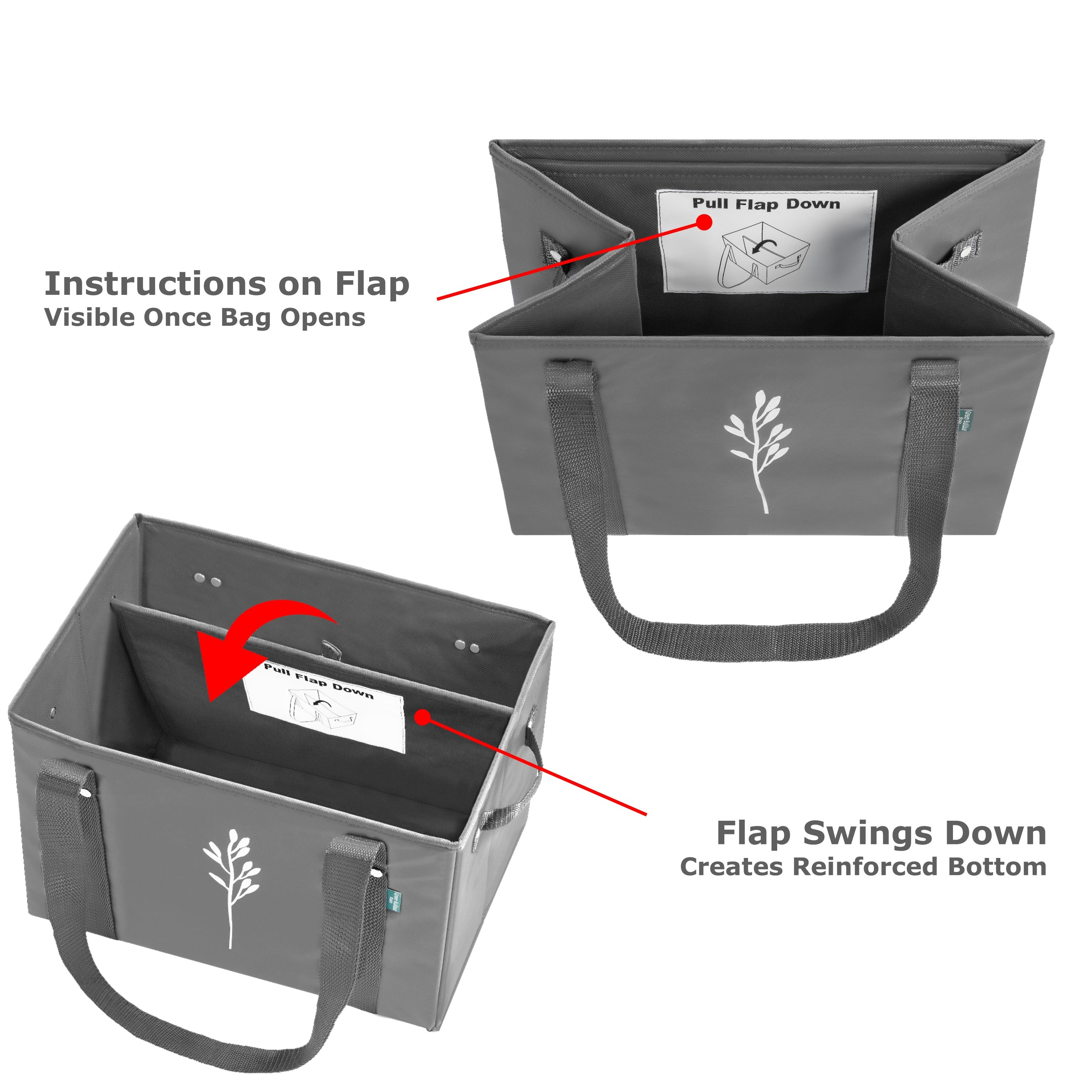 Collapsible Shopping Box Bags with Fold Out Reinforced Bottom