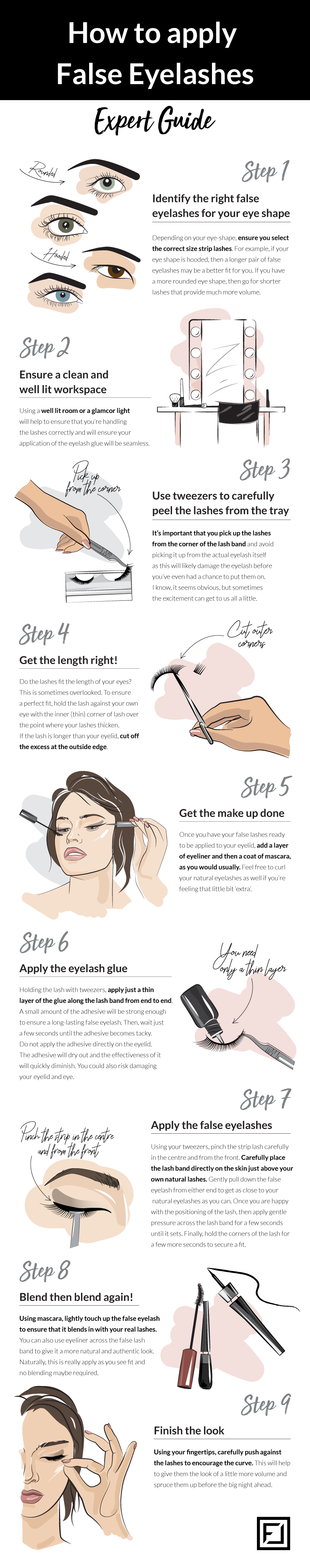 how to apply false eyelashes