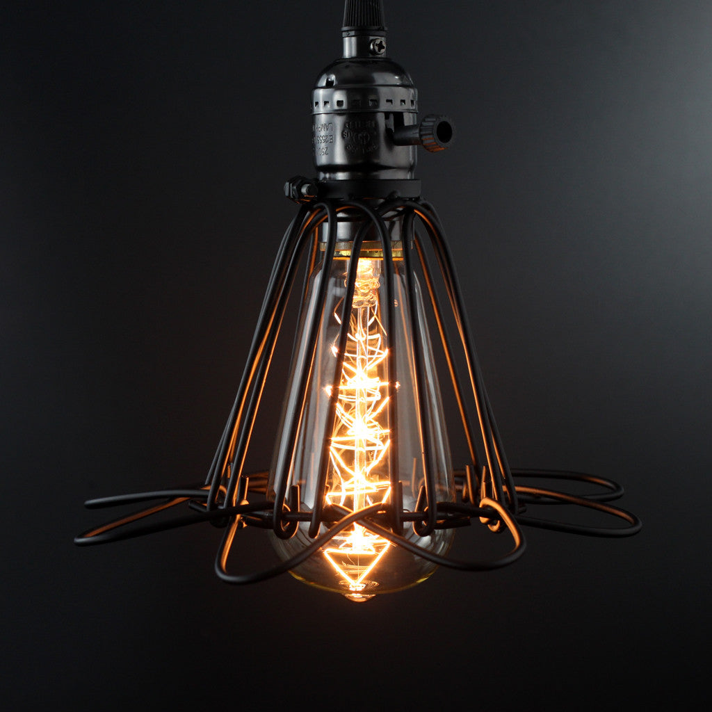 Minimalist Vintage Industrial Cage Pendant Light Judy Lighting Room Ceiling Retro On Wiring Led Lights This Adds A Rustic Feel To Any Space Ideal For Use In Kitchens Restaurants Bars And Dining Rooms The Exposed Bulbs