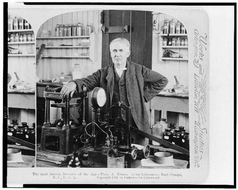 Thomas Alva Edison in his laboratory