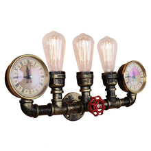 Steampunk 3 Light Wall Lamp, Industrial Style Bare Edison bulb Lighting