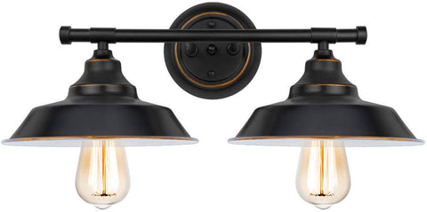 Brooklyn 2-Light Industrial Wall Sconce, Black Baking Paint